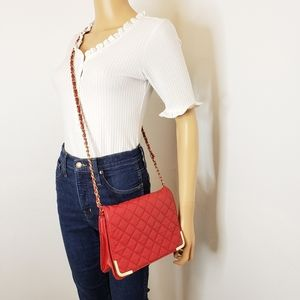 Forever 21 Red Quilted Crossbody Chain Strap Purse